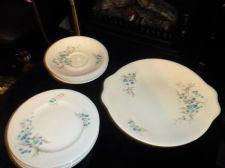 ELEGANT ROYAL ALBERT CHINA BLUE HEAVEN CAKE PLATE 5 TRIOS CREAM JUG PLATE SAUCER